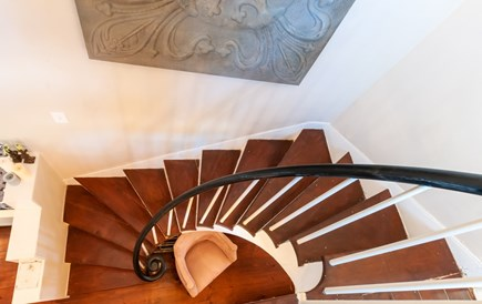 Sandwich Cape Cod vacation rental - Winding front staircase to 2nd Floor (front section of house)