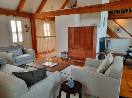 West Barnstable Cape Cod vacation rental - Cathedral ceiling, open concept living room.