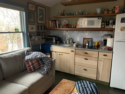 East End Provincetown Cape Cod vacation rental - Kitchen area w/ stovetop, microwave, small Breville toaster/oven