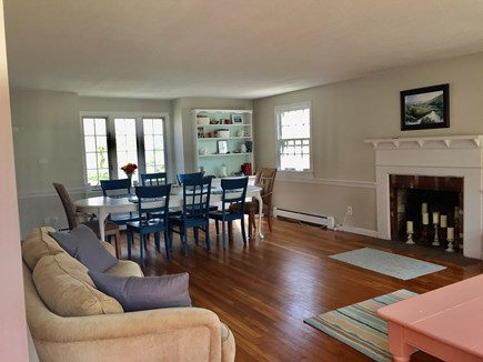 West Harwich Cape Cod vacation rental - Living room/dining room - table seats 8 comfortably!