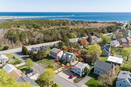 Sandwich Cape Cod vacation rental - Aerial of house and beach, just 3/10 mile away