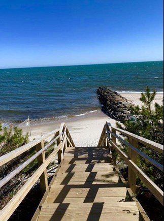 Dennis Port Cape Cod vacation rental - Stairs down to small beach at end of street