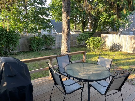 Yarmouth, Bayview Beachside Cape Cod vacation rental - Sunset over the fenced-in back yard.