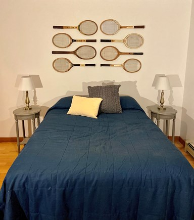 West Falmouth Cape Cod vacation rental - Guest bedroom / Old School Tennis Racquets