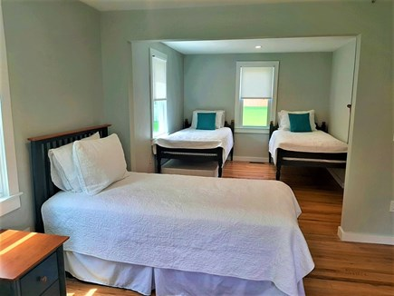 Sandwich Cape Cod vacation rental - First-floor bedroom with 4 twin size beds and TV