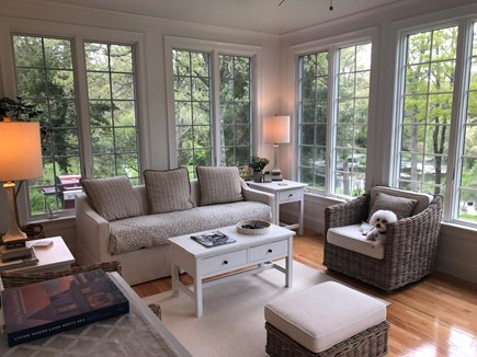 Osterville Cape Cod vacation rental - Sunroom with eating area located off the deck with pond views