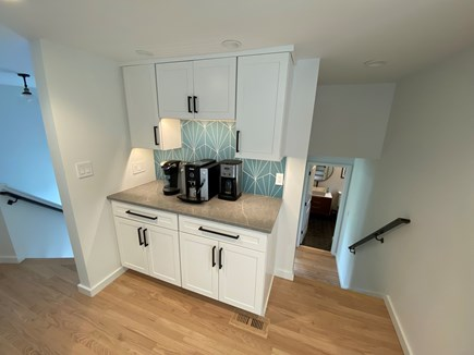 Woods Hole Cape Cod vacation rental - Coffee bar in kitchen, stairs leading to mudroom and Bed/Bath 4.