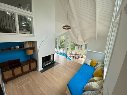 Woods Hole Cape Cod vacation rental - Living room with window seat and console record player.