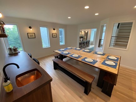 Woods Hole Cape Cod vacation rental - Dining room with wet bar, table converts for table tennis.