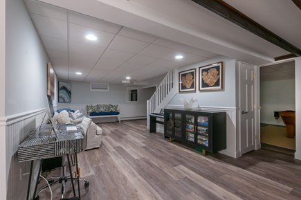 West Barnstable Cape Cod vacation rental - Stairway to Lower level with open floor plan