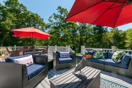 West Barnstable Cape Cod vacation rental - Outdoor seating and dining table on deck