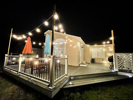 Barnstable, Centerville Cape Cod vacation rental - Patio with propane grill, patio furniture and string light