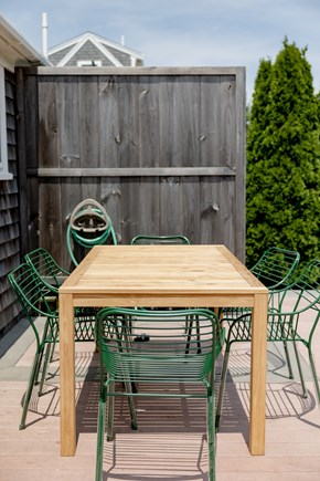 provincetown Cape Cod vacation rental - Modern 6 seater outdoor table, large outdoor sofa not shown