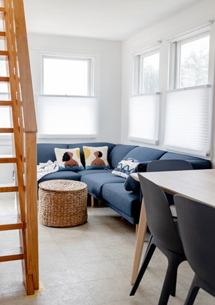 provincetown Cape Cod vacation rental - Living space with large hosting sofa