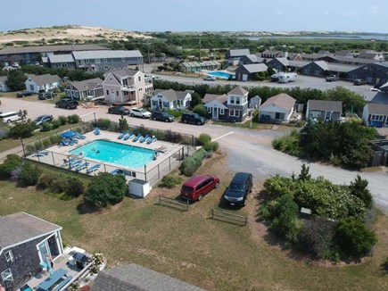provincetown Cape Cod vacation rental - Can you spot the cottage and the pool right out front?