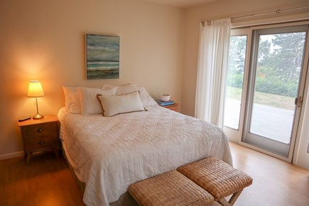 Brewster Cape Cod vacation rental - Main level King bedroom with sliders to deck