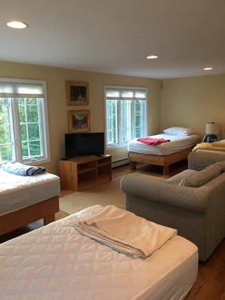 Wellfleet Cape Cod vacation rental - 4 Twins with TV and sleeper sofa AC unit in this room