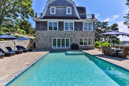 Chatham, Crows Pond and Pleasant Bay Cape Cod vacation rental - Heated pool with hot tub overlooking crows pond