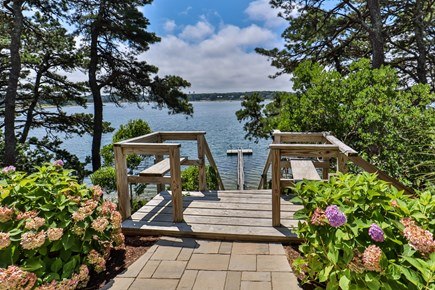 Chatham, Crows Pond and Pleasant Bay Cape Cod vacation rental - Stairs down to private dock and beach