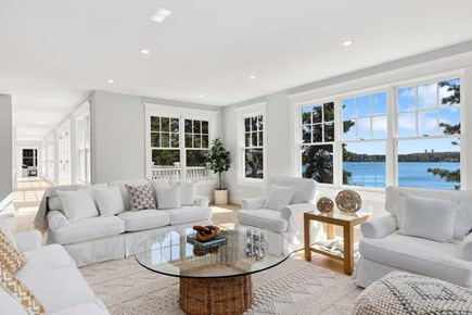 Chatham, Crows Pond and Pleasant Bay Cape Cod vacation rental - Large Entertainment Room with Fireplace with amazing views!