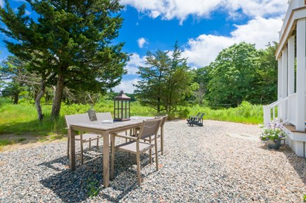 East Sandwich Cape Cod vacation rental - Outdoor dining table off back deck