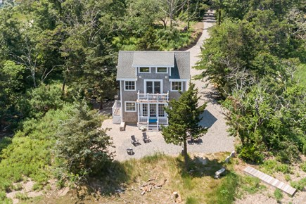East Sandwich Cape Cod vacation rental - Aerial view of back of the house