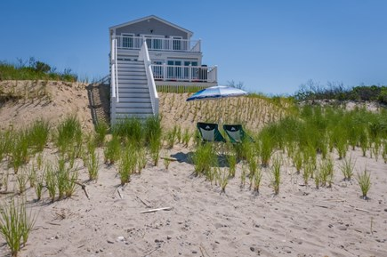 East Sandwich Cape Cod vacation rental - Looking back at the house from the private beach below