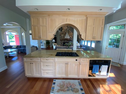 Chatham Cape Cod vacation rental - View from kitchen into great room fireplace