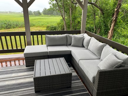 East Sandwich Cape Cod vacation rental - Deck overlooking the marsh with seating for entertainment!