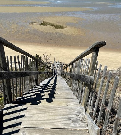 Eastham Cape Cod vacation rental - Stairs leading to the private bay beach