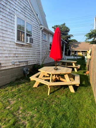 Dennis Port Cape Cod vacation rental - Outside Seating. Two large Picnic tables.