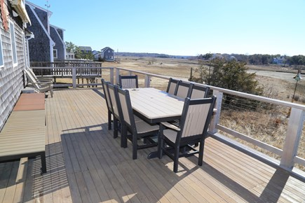 East Sandwich Cape Cod vacation rental - Deck with Seating, Grill and Views over Tidal Marsh