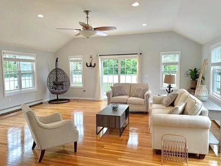 Hyannis, Barnstable Cape Cod vacation rental - Comfortable family room with slider to the back yard.