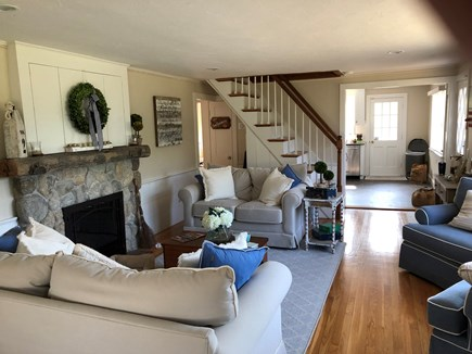Dennis Cape Cod vacation rental - Family room with fireplace and hidden TV above