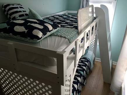 Eastham Cape Cod vacation rental - Bunk room with twin bunk beds and room darkening curtains