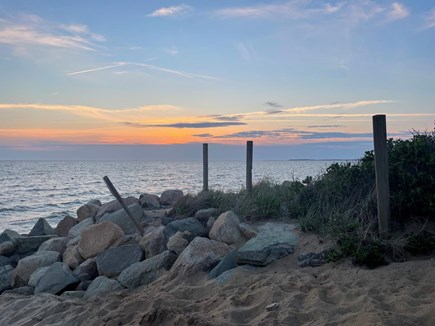 Eastham Cape Cod vacation rental - Sunset over the rocks at Campground Beach