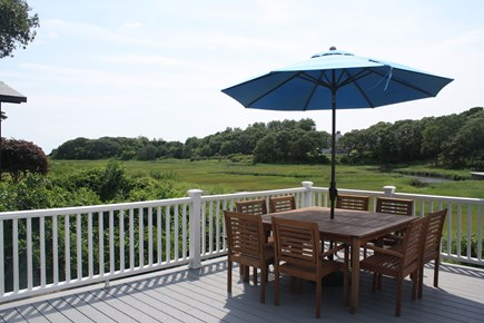 West Hyannisport Cape Cod vacation rental - Table on deck overlooking the creek/view of Nantucket Sound.