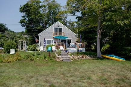 Sandwich Cape Cod vacation rental - Large deck with sofa, dining, umbrellas