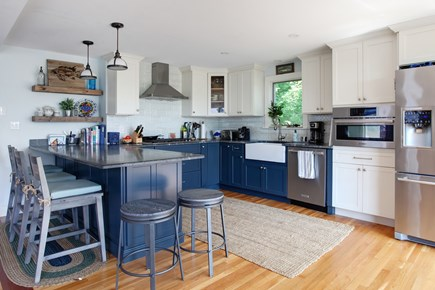 Sandwich Cape Cod vacation rental - Chef's kitchen with gas stovetop, microwave/convection oven