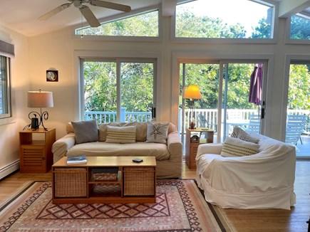 Wellfleet, Lieutenant Island Cape Cod vacation rental - Living Room with Sliders to Deck