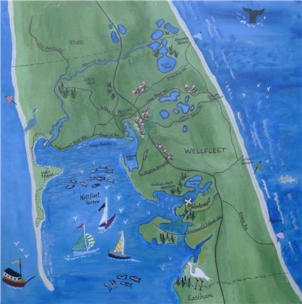 Wellfleet Cape Cod vacation rental - Location is marked with a white ''X''