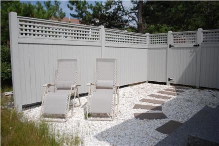 Wellfleet Cape Cod vacation rental - Walkway from the master bedroom to the enclosed outdoor shower