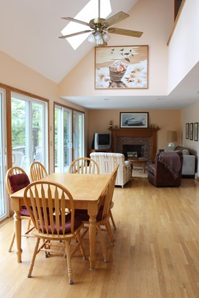 Wellfleet Cape Cod vacation rental - Open-airy cathedral ceiling dining room and living room area