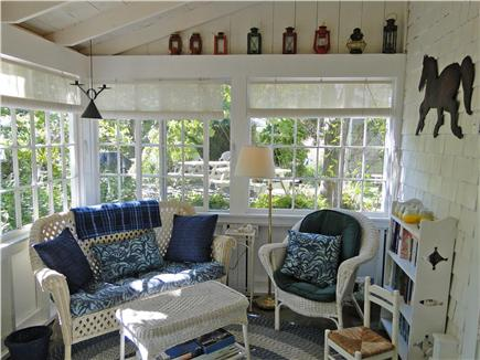 Chatham Cape Cod vacation rental - Bright & airy glass/screen sunroom with flat screen television