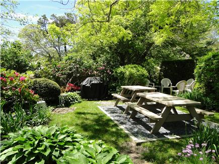 Chatham Cape Cod vacation rental - Picnic, BBQ and cocktail area surrounded by gardens