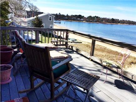 Wareham MA vacation rental - One of two decks overlooking Wareham  Harbor & our private beach
