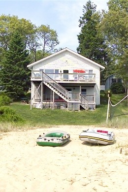 Wareham MA vacation rental - Our house in directly on private sandy  beach, safe swimming.