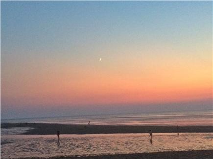 North Eastham Cape Cod vacation rental - Moonrise at sunset on Cooks Brook Beach