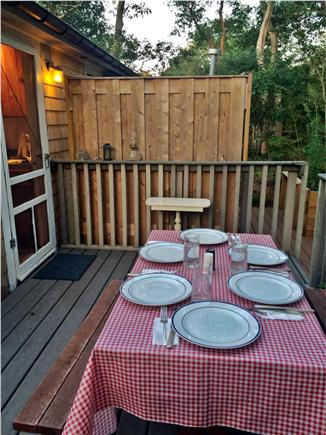 North Eastham Cape Cod vacation rental - Dinner at sunset on the deck