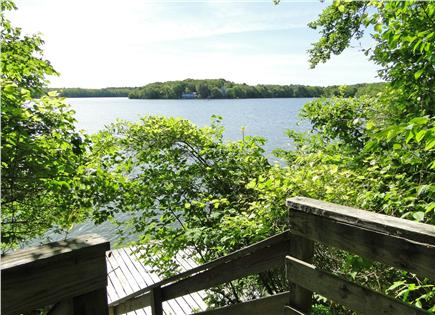 Mashpee Cape Cod vacation rental - A view of the 14' x 16'  floating dock & our lake